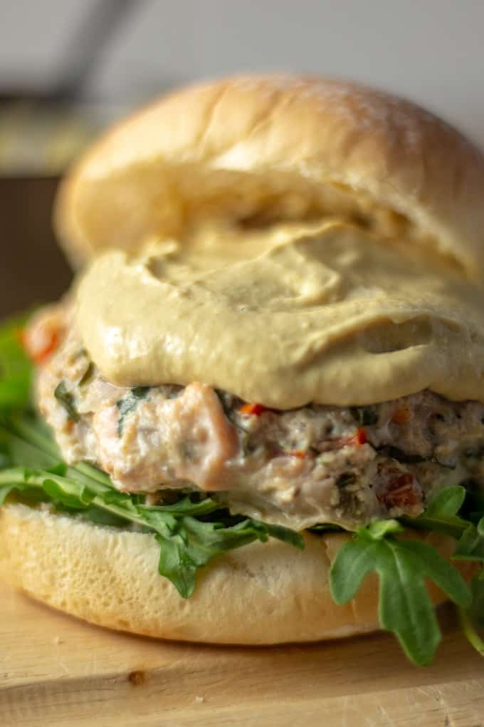 Salmon Crab Burger with creole mustard sauce