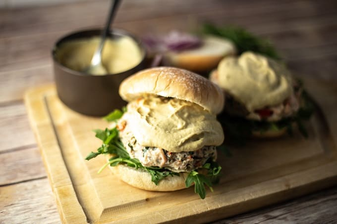 Salmon crab burger with mustard sauce
