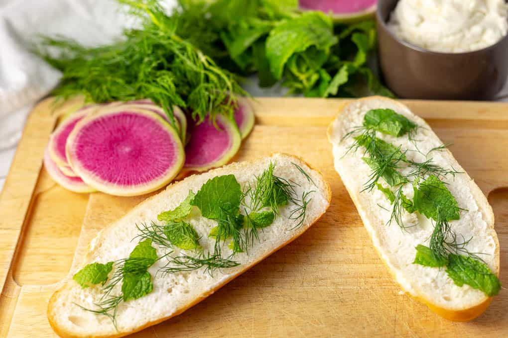 Spring Radish Ricotta Sandwich Step 1 - Spread Mayo and Herbs.jpg