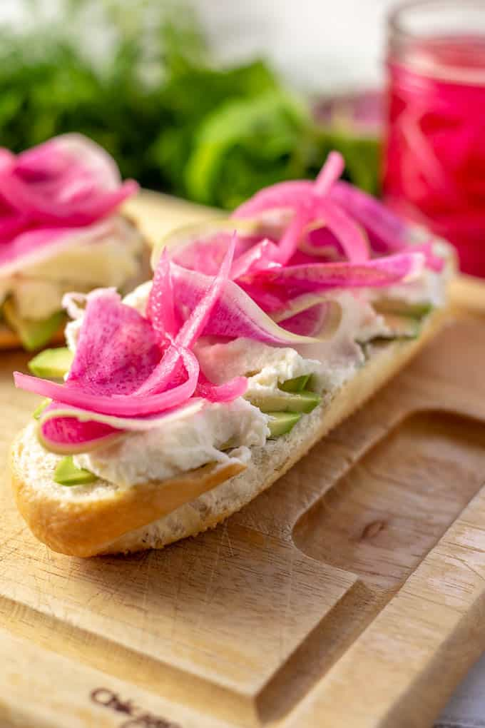 Spring Radish Ricotta Sandwich Step 3 - Add Ricotta, Radish and Pickled Onions